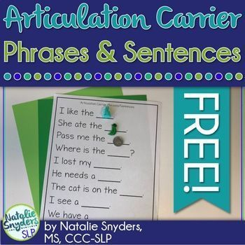 Articulation Carrier Phrases And Sentences Freebie Phrases And