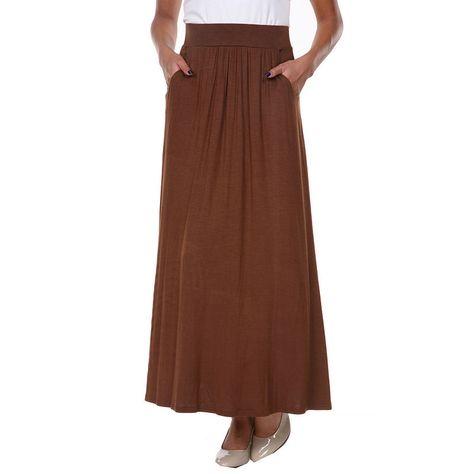 035cc36fa03 White Mark Elastic Waist Maxi Skirt