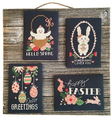 "Spring Finished Cross Stitch /""Happy Easter/"""