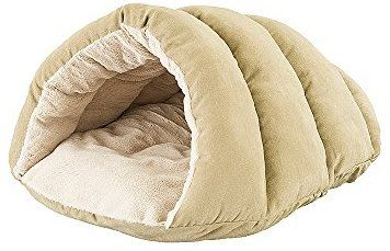 Amazon Com Ethical Pets Sleep Zone Cuddle Cave Pet Bed 22 Tan Pet Supplies Cave Dog Bed Hooded Dog Bed Dog Bed
