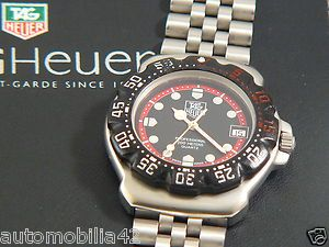 Stunning Retro TAG Heuer Formula one F1 Stainless Steel Black red dial WA1214