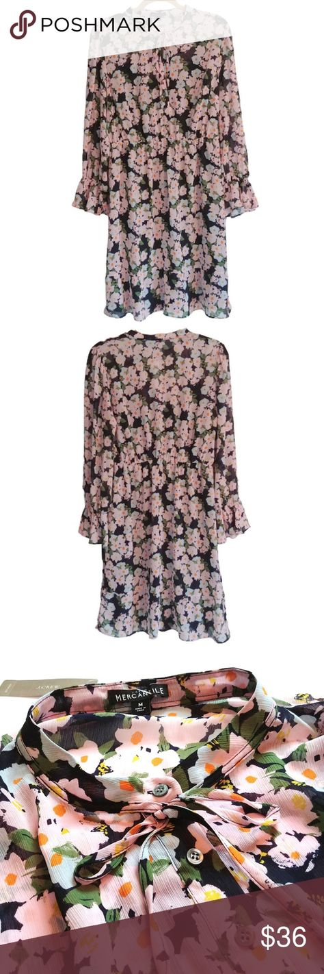 NWT J. Crew Mercantile Drapey French Floral Dress Brand new with tags  Features: ►Very light & flowing ►French floral print in blue, pink, green, & orange ►Long sleeves with elastic bell cuffs ►Five button placket with tie front ►Elastic waist; can be belted for a perfect boho look ►Full slip is attached at shoulders with bra keepers & is detachable ►Ruffle on bottom hem ►Machine washable ►Size Medium  Materials: Shell and lining 100% Polyester  Approximate Measurements: (Laid flat) ►Pit to pit: