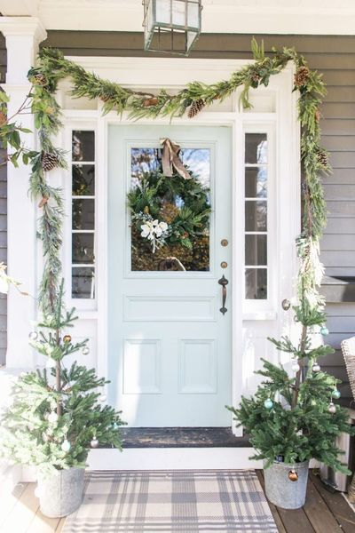Elegant Front Porch Decoration For Your Awesome Winter Front Porch Decorating Painted Front Doors Christmas Front Doors
