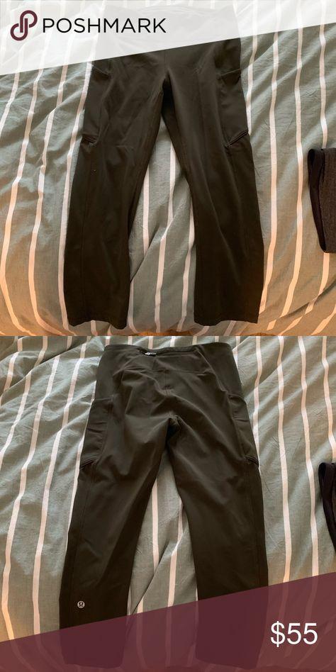 8aa56d9a187eb Lulu lemon green cropped pants Lulu lemon army green cropped leggings with  pockets lululemon athletica Pants