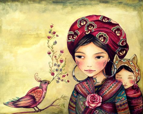 Mother and daughter with bird singing art print