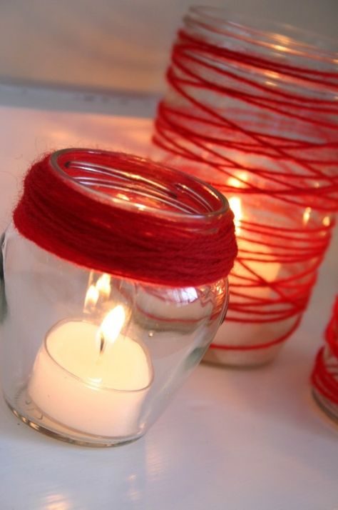 Yarn Candle Jars   Family Chic by Camilla Fabbri, 2014 Valentine's Candle Jars