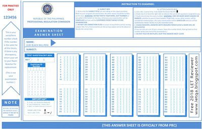PRC Sample Answer Sheet for Licensure Examination for
