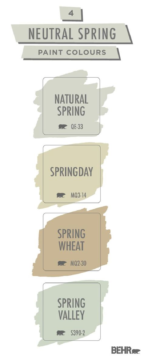 Spring isn't just a season for pastels. This neutral spring paint colour palette from Behr Paint shows you how to redesign your home in a brand new way. Get inspired for your next DIY home makeover project. Click below to learn more.
