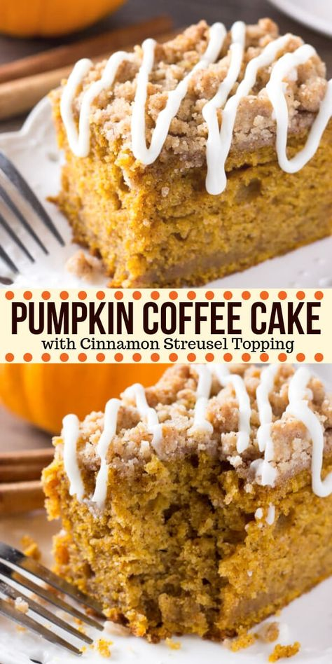 Pumpkin, spice & everything nice come together in this easy Pumpkin Coffee Cake with streusel topping. Made with sour cream so it's super moist - it's perfect for fall! #pumpkin #fall #coffeecake #pumpkincoffeecake #thanksgiving #breakfast #recipes #dessert #fallbaking #falldessert