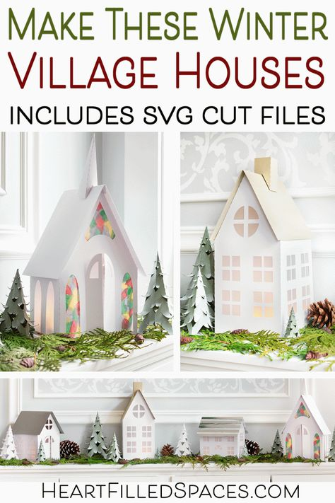 How to make these winter village houses for your mantel, bookcase or tablescape. Includes a step by step , free SVG cut files and printable PDF files. Christmas Village Houses, Christmas Town, Putz Houses, Christmas Villages, Christmas Paper, Mini Houses, Pink Christmas, Cricut, 3d Cuts