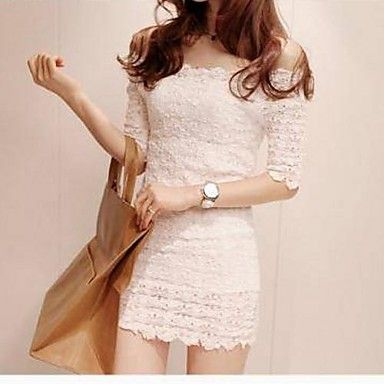 ce8c97325f3 Women s Korean Sexy Off The Shoulder Lace Dress – EUR € 14.43