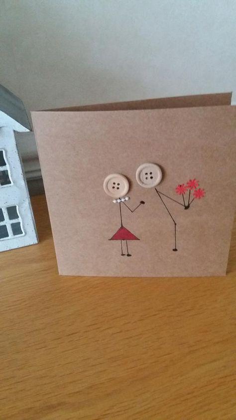 Anniversary card romantic love birthday hand drawn | Etsy
