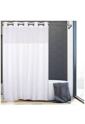 Hookless Shower Curtain W Liner 71 X74 Bathroom Fabric Water Resistant White Ebay Hookless Shower Curtain