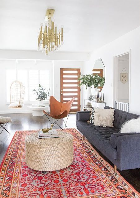 Decorating With Colorful Rugs | Bohemian living room decor, Modern