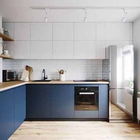 Bom dia! Cozinha clean Adorei o armário suspenso como se fosse um painel #organizesemfrescuras #cozinha #organização #cozinha #kitchen #pinterest
