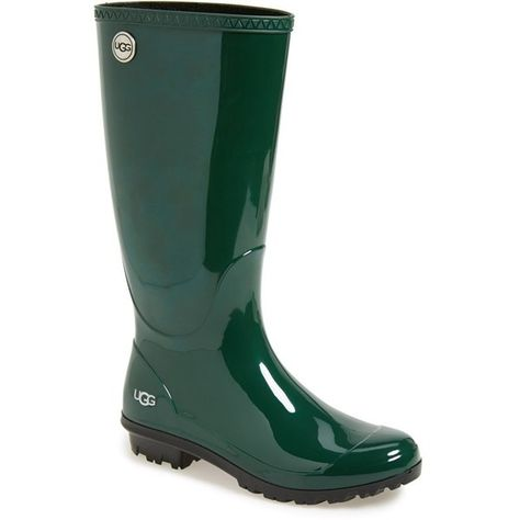"""UGG Australia 'Shaye' Rain Boot, 1"""" heel ($80) ❤ liked on Polyvore featuring shoes, boots, mid-calf boots, pine rubber, pull on boots, short heel boots, mid calf low heel boots, slip on rain boots and slipon boots"""