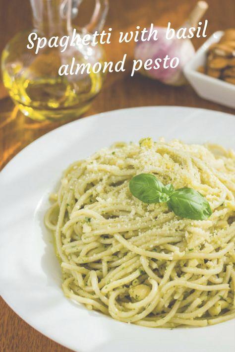 Spaghetti With Basil Almond Pesto