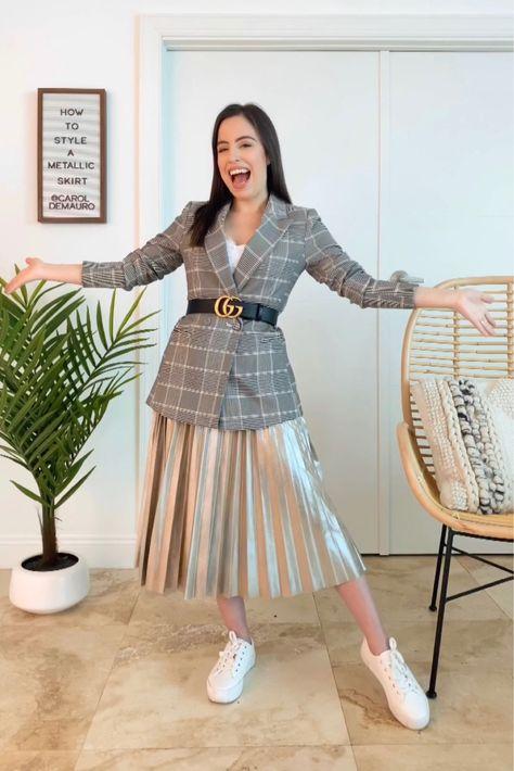 Metallic skirt and blazer outfit