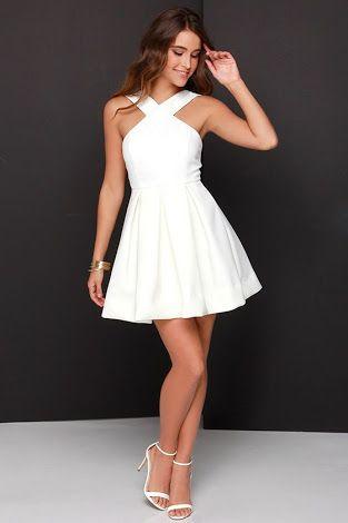 Resultado De Imagem Para Balo Elbiseleri 14 Yas Vestidos Vestido Branco Simples Vestido Branco Curto