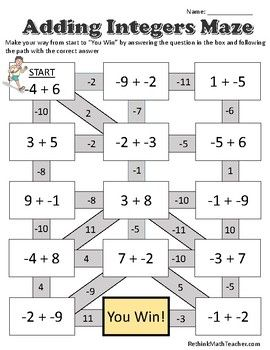 Maze Worksheets - Adding, Subtracting, Mult and Div Integers ...