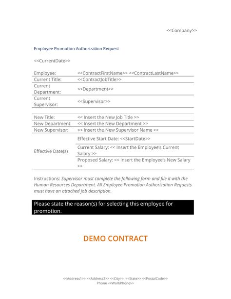 Employee Promotion Authorization Form - The Employee Promotion - authorization request form