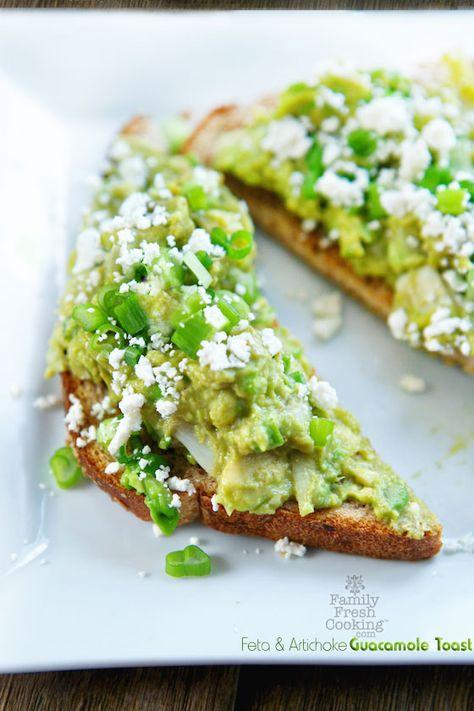 Feta & Artichoke Guacamole Toast   FamilyFreshCooking.com