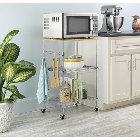 Whitmor Supreme Kitchen Storage Microwave Cart Wood Chrome Walmart Com In 2020 Microwave Cart Microwave In Kitchen Cool Kitchens