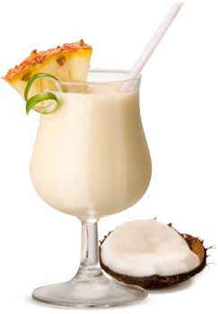 """""""Parrot Club"""" Pina Colada- 2 cans coconut cream, 1 large can pineapple juice, 1 bottle Bacardi Coconut Rum, 1/2 bottle Bacardi Dark Rum, blend with ice and garnish with fresh coconut & a maraschino cherry on top. This recipe makes 1 gallon, perfect summer cocktail."""