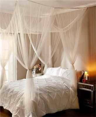 White Or Ecru Elegant Romantic Sheer Bed Canopy Fits All Bed Sizes