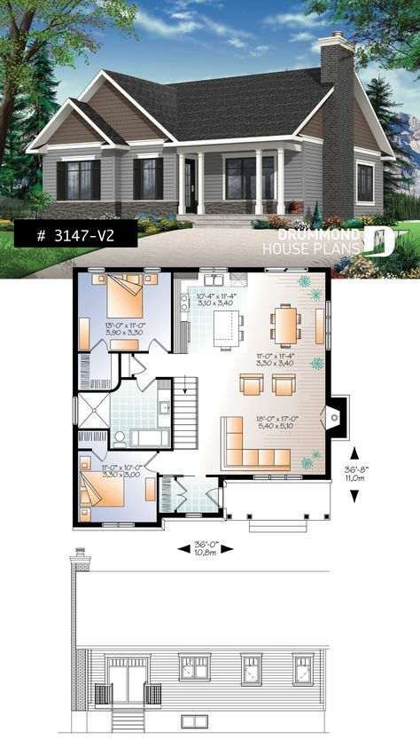 Discover The Plan 3147 V2 Bradley 2 Which Will Please You For Its 2 Bedrooms And For Its Transitional Styles Bungalow House Plans Small Affordable House Plans House Plans