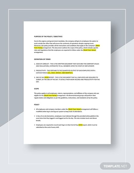 Work From Home Policy Template In 2020 Policy Template Contract Template Word Doc