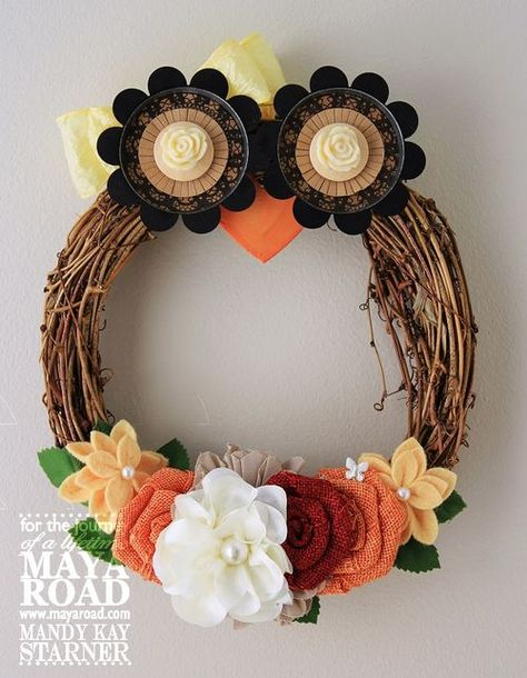 Owl Wreath - shut the front door!! But seriously do, so everyone can see this adorable wreath hanging on it.