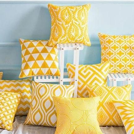 Bright Happy Yellow Cushion Covers Yellow Decorative Pillows Throw Pillows Living Room Yellow Cushion Covers