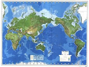 16 best world maps images on pinterest world maps united states this striking physical world map produced by the us defense mapping agency is pacific centred with australia right in the middle where it should be gumiabroncs Gallery