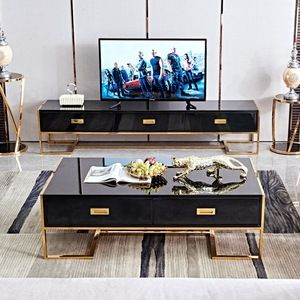 Wholesale Luxury White Movable Tv Cabinet And Round Side Table Combination Nordic Minimalist Living Room Wood
