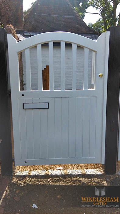 White Wooden Side Gate With Integrated Letterbox Side Gate