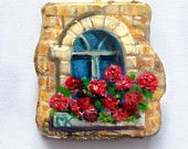"""Gold Necklace """" Spring at your window"""". Miniature oil painting on stone"""