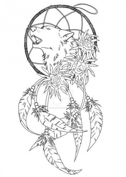 Tattoo Wolf Dreamcatcher Deviantart 59 New Ideas Wolf Dreamcatcher Tattoo Dream Catcher Coloring Pages Dreamcatcher Tattoo