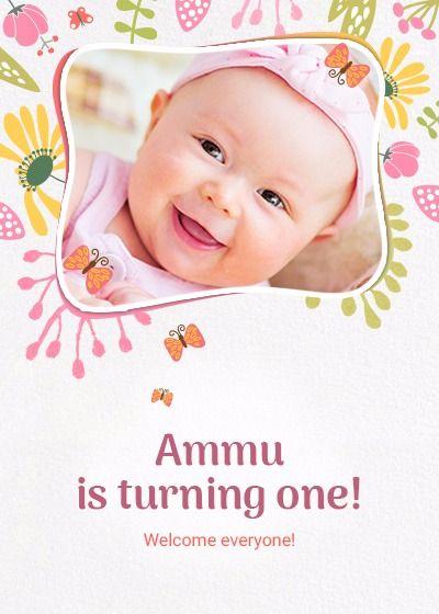 Birthday Girl Online Invitation Card Birthday Invitations Baby Girl First Birthday