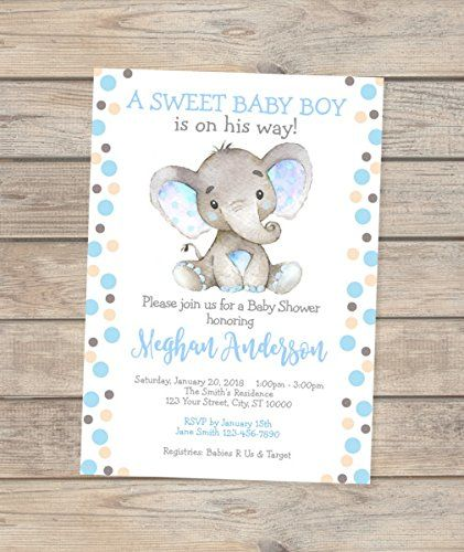 Elephant Baby Shower Invitations Watercolor Elephant Boy Baby Shower Elephant Baby Shower Invitations Baby Shower Invitations For Boys Boy Shower Invitations