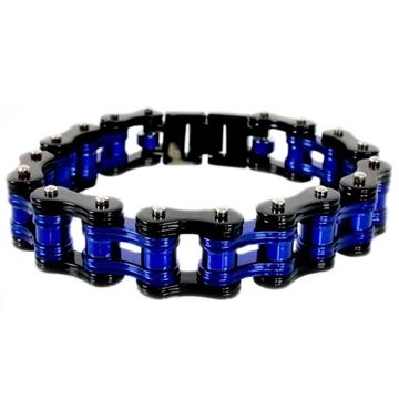 Double Black Candy Blue Bike Chain Bracelet With Images Bike