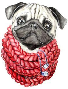 """PETITE FILLE CARTE D/'ANNIVERSAIRE-Pretty parti /""""Carlin Chiots/"""" chiens livraison gratuite"""