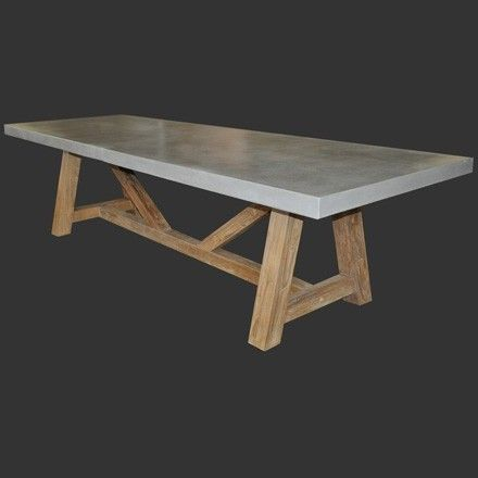 design warehouseconcrete top trestle table with reclaimed teak