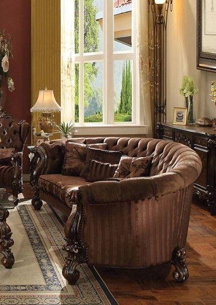 Acme Furniture Versailles Brown Oak Sofa With Five Pillows Quality Living Room Furniture Oak Sofa Living Room Furniture