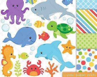 Etsy El Lugar Para Comprar Y Vender Todo Lo Que Está Hecho A Mano Animal Clipart Digital Paper Sea Animals