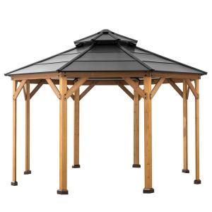 Sunjoy Archwood 12 Ft X 10 Ft Cedar Frame Gazebo With Double Tier Steel Roof Hardtop A102007500 The Home Depot In 2020 Gazebo Patio Gazebo Wood Patio
