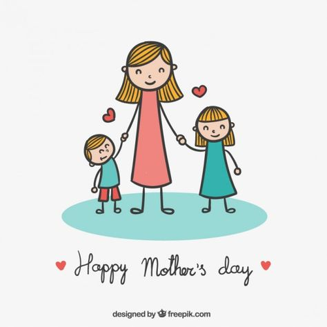 Cute drawing for mothers day Free Vector