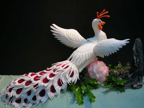 Fruit Carving - Vegetable Carving - Peacock