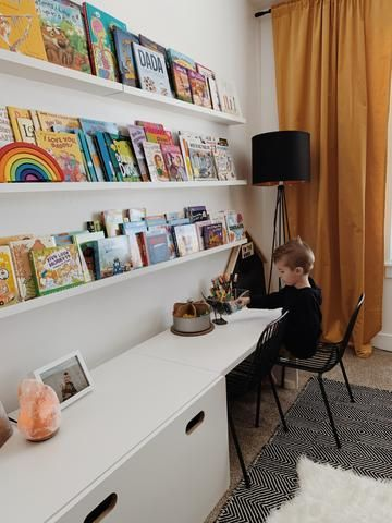 Kids Room With Green Accent Wall Kids Room Desk Storage Kids Room Children Room Boy