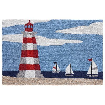 Breakwater Bay Shelborne Lighthouse Hand Tufted Blue Indoor Outdoor Area Rug Wayfair Kanaviçe Yastıklar Punç